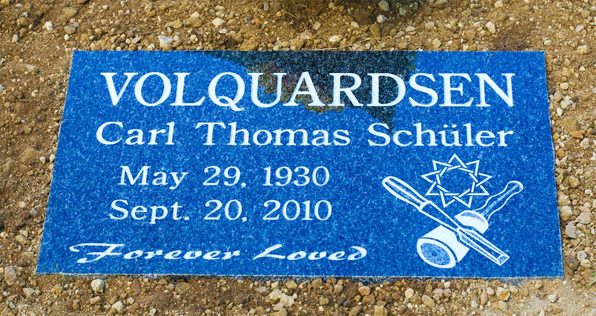 Britz blue granite flat marker 12'' x 20'' x 4'' Salt Spring Cemetery